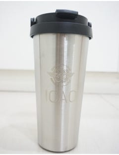 Stainless Steel Vacuum Flask with polypropylene handle, engraved with ICAO logo