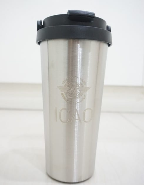 Stainless Steel Coffee Tumbler with handle, engraved with ICAO logo