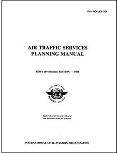 Air Traffic Services Planning Manual - First Edition 1984 (Doc 9426)