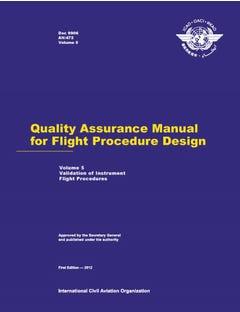 Quality Assurance Manual for Flight Procedure Design - Part 5 - Validation of Instrument Flight Procedures (Doc 9906P5)