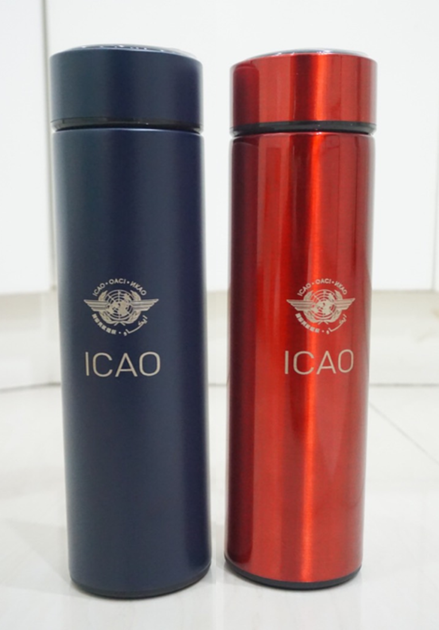 Stainless Steel Vacuum Flask, engraved with ICAO logo