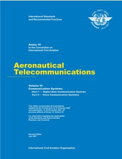 Annex 10 - Aeronautical Telecommunications - Volume III - Communication Systems