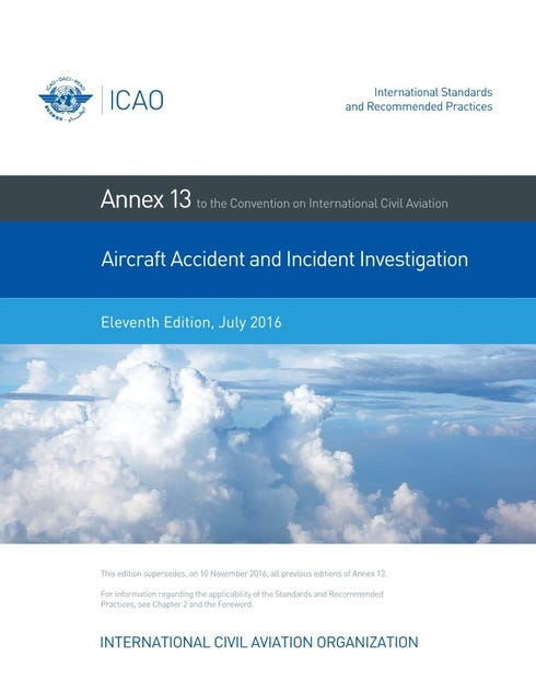 Annex 13 - Aircraft Accident And Incident Investigation