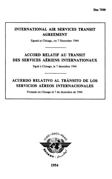 International Air Services Transit Agreement (Doc 7500)