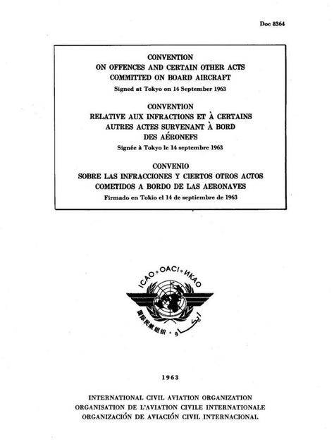 Convention on Offences and Certain Other Acts Committed on Board Aircraft (Doc 8364)