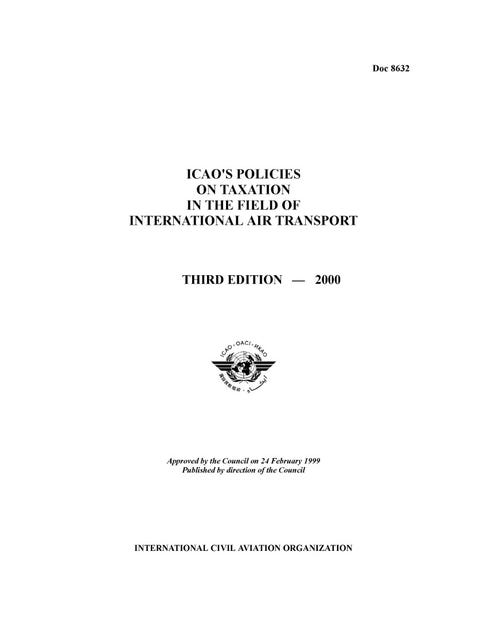 ICAO's Policies on Taxation in the Field of International Air Transport (Doc 8632)