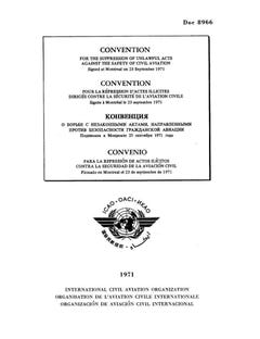 Convention for the Suppression of Unlawful Acts against the Safety of Civil Aviation (Doc 8966)