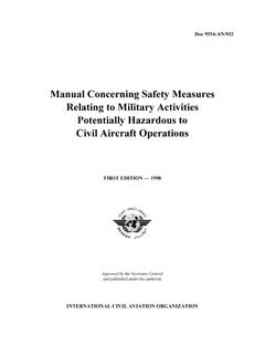 Manual Concerning Safety Measures relating to Military Activities Potentially Hazardous to Civil Aircraft Operations  (Doc 9554)