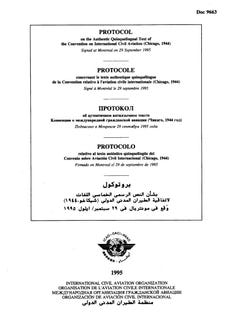 Protocol on the Authentic Quinquelingual Text of the Convention on International Civil Aviation (Chicago, 1944) (Doc 9663)