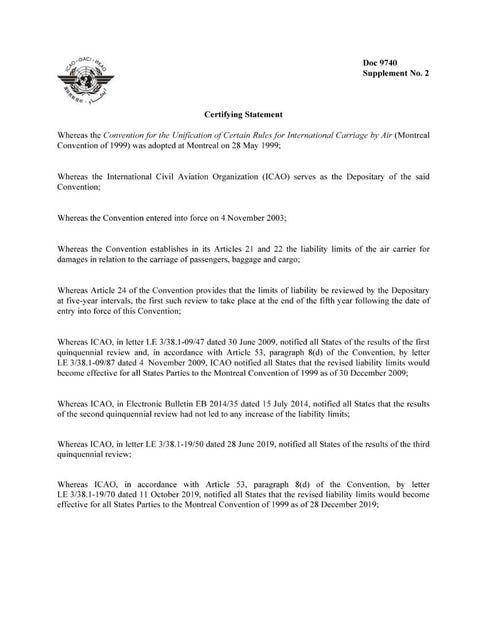 Convention for the Unification of Certain Rules for International Carriage By Air (Supplement no. 2 to Doc 9740)