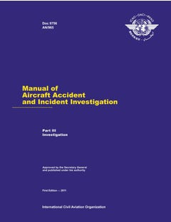 Manual of Aircraft Accident and Incident Investigation - Part III - Investigation (Doc 9756 - Part III)